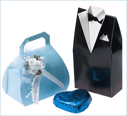 His and her blue favours with matching blue foil wrapped heart shaped tablet.